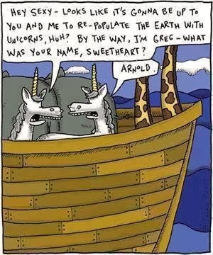 Funny Noah's ark unicorn cartoons - Hey Sexy, I'm Greg - what was your name, Sweetheart?  Arnold.