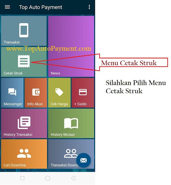 Cetak Struk Pembelian Pulsa PPOB Via Printer Bluetooth Melalui Aplikasi Android Top Auto Payment