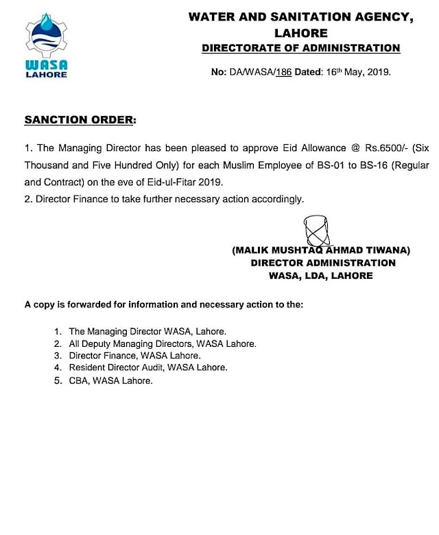 GRANT OF EID ALLOWANCE TO WASA EMPLOYEES