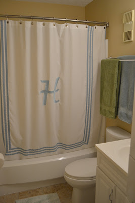 Cute I found a ready made shower curtain at HomeGoods and had a sweet friend add the giant ucH ud monogram Hi Theresa