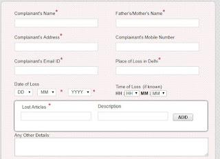 Delhi ONLINE FIR form