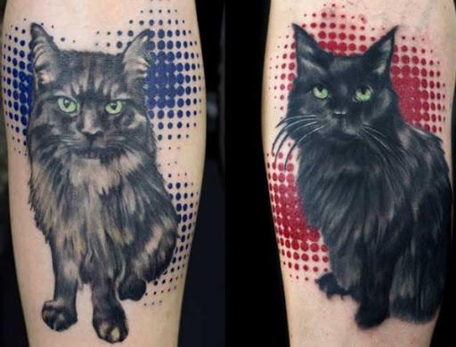 De Longos Cabelos Gato Preto Tatuagem
