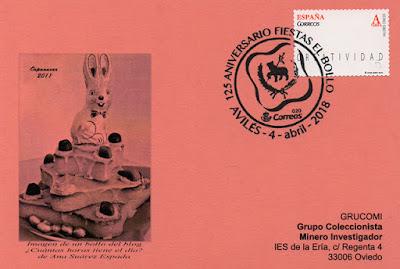 Tarjeta del matasellos del 125 aniversario de las fiestas del bollo en Avilés