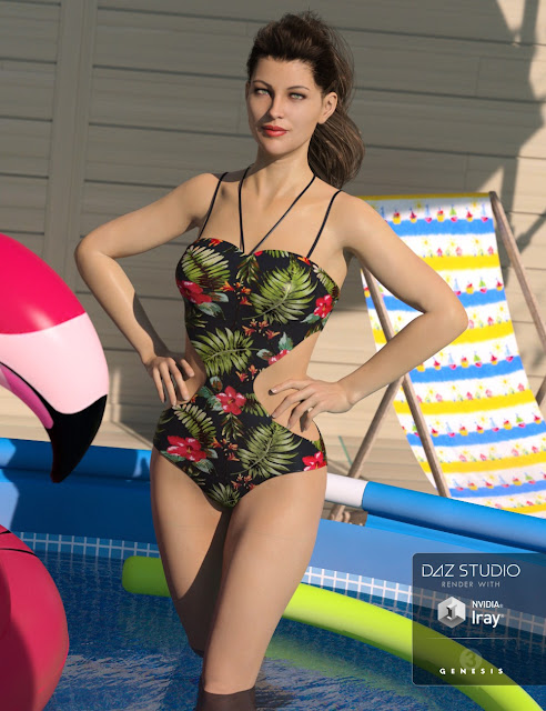 One Piece Swimsuit for Genesis 8 Female