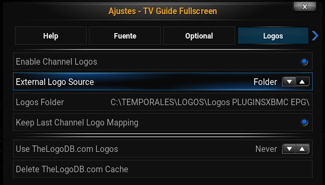 Configurar TV GUIDE EPG