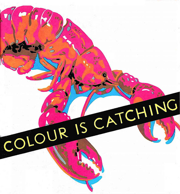 """a 1935 Brian Batsford poster illustration of a lobster """"colour is catching"""""""