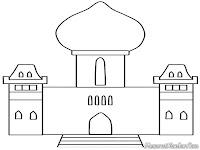 Gambar Sketsa Masjid Untuk Diwarnai