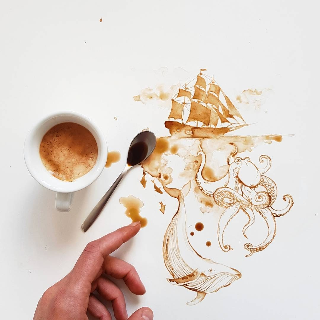 05-Hot-Coffee-and-Cold-Dreams-Giulia-Bernardelli-Coffee-Cup-Paintings-or-Drawings-www-designstack-co