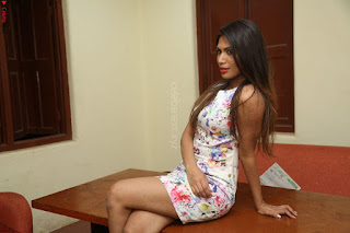 Nishi Ganda stunning cute in Flower Print short dress at Tick Tack Movie Press Meet March 2017 016.JPG