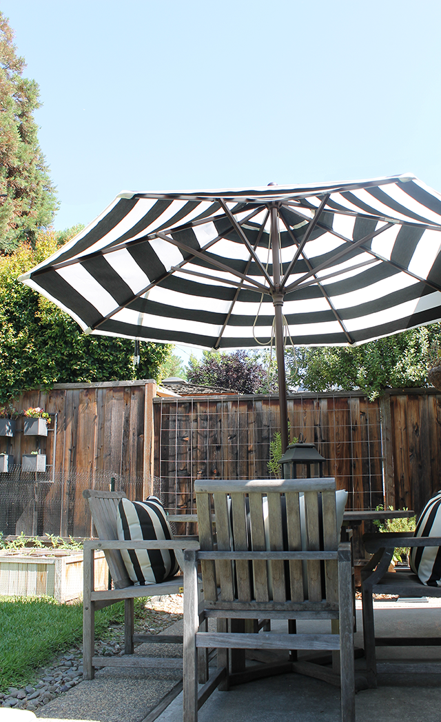 copy cat chic stripes in the backyard. Black Bedroom Furniture Sets. Home Design Ideas