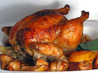 Roast Chicken with Fruit and Beer Gravy Recipe | Healthy Chicken Recipe