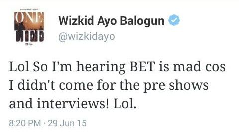 Wizkid talks about BET & African artists collecting awards backstage