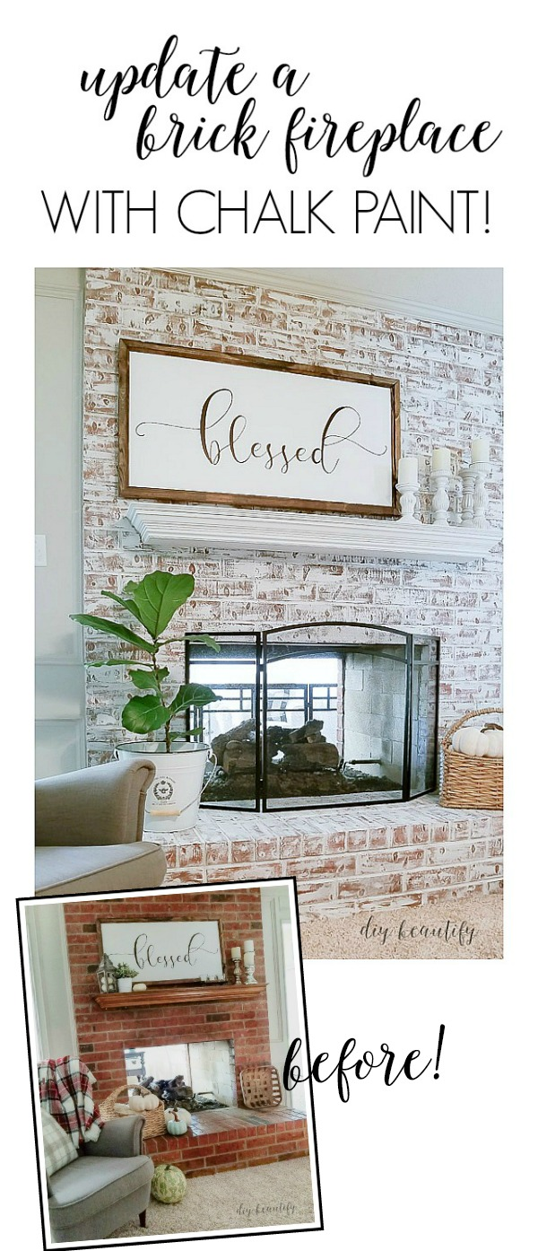 painted fireplace before and after | diybeautify.com
