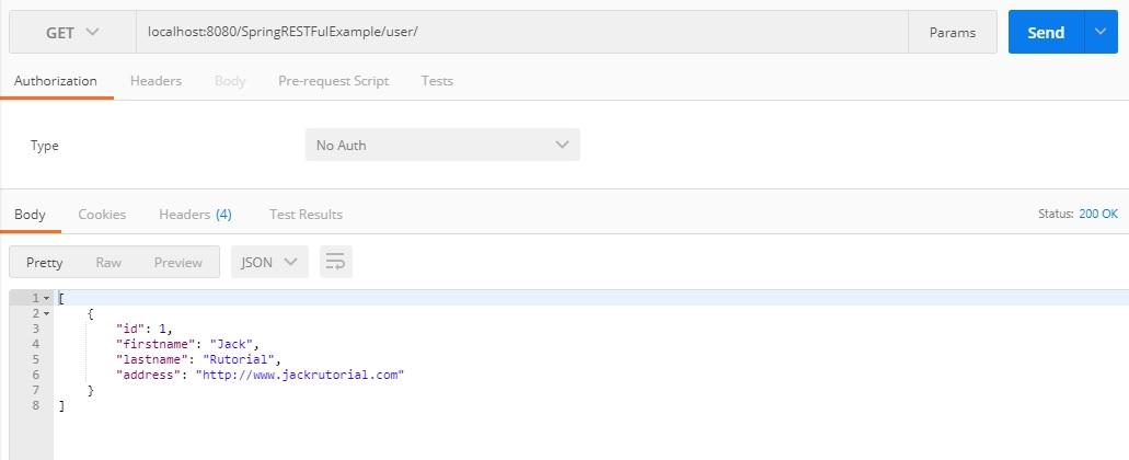 List User postman - Spring 4 Restful Web Services CRUD JSON Example