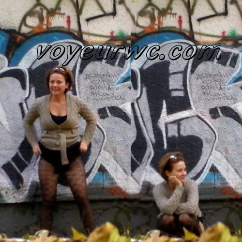 Graffiti Toilet (Voyeur has set the hidden spy cam in the park and now everybody can enjoy the delicious fresh asses belonging to the pretty pissing girls)