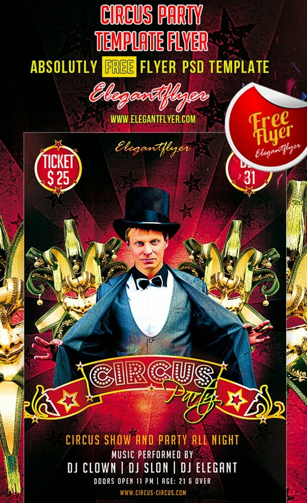 Circus Party Flyer PSD Template