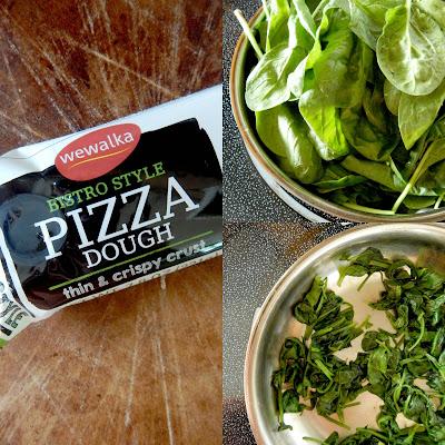 creamy garlic spinach ricotta pizza (sweetandsavoryfood.com)
