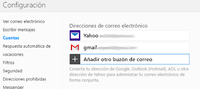 Gmail, Aol. y Outlook desde Yahoo Mail