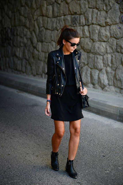 Pair your little black dress (LBD) with a leather topper to freshen up the look