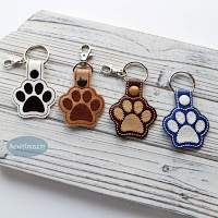 Dog Paw Print Snap Tab Key Chain, Purse Charm