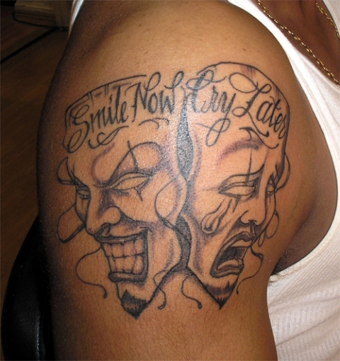 laugh now cry later tattoo meaning gang tattos for men