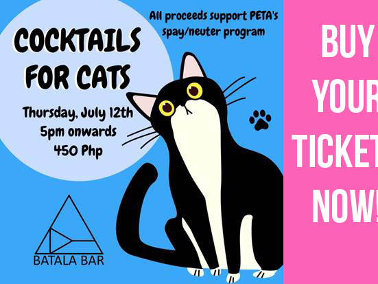 "Join Cocktails for Cats to Support PETA's ""Kapon Ligation Immediately, Please"" (KLIP) Program"