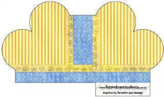 Caja abierta en forma de corazón de Corona Dorada en Azul y Amarillo.