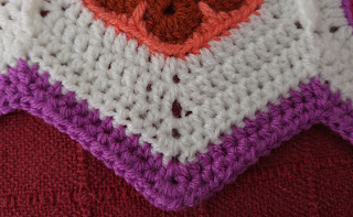 African flower hexagon baby blanket. Points