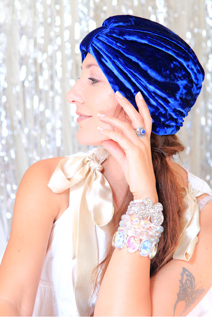 Royal Blue Crushed Velvet Turban by Mademoiselle Mermaid