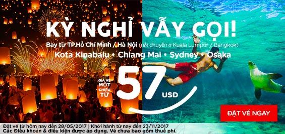 Mua vé Air Asia giá từ 57 usd kỳ nghỉ vẫy gọi