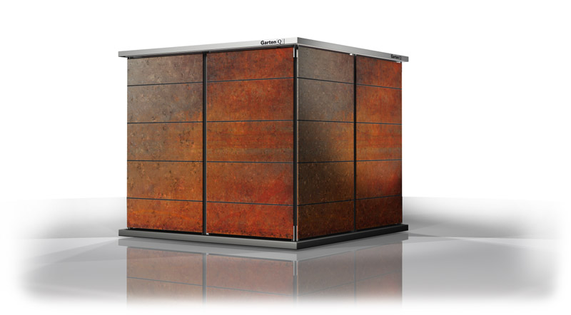 designer gartenhaus gartenhaus design in metall. Black Bedroom Furniture Sets. Home Design Ideas