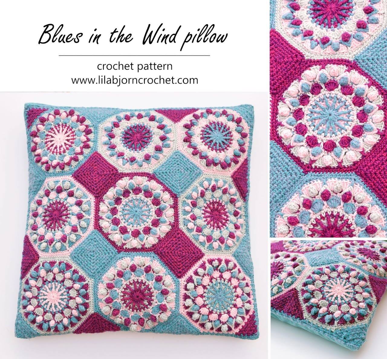 Blues in the Wind - crochet pattern for a pillow, blanket, coasters and baubles. All in one! by www.lillabjorncrochet.com