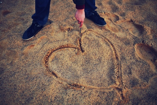 man beach love sand large