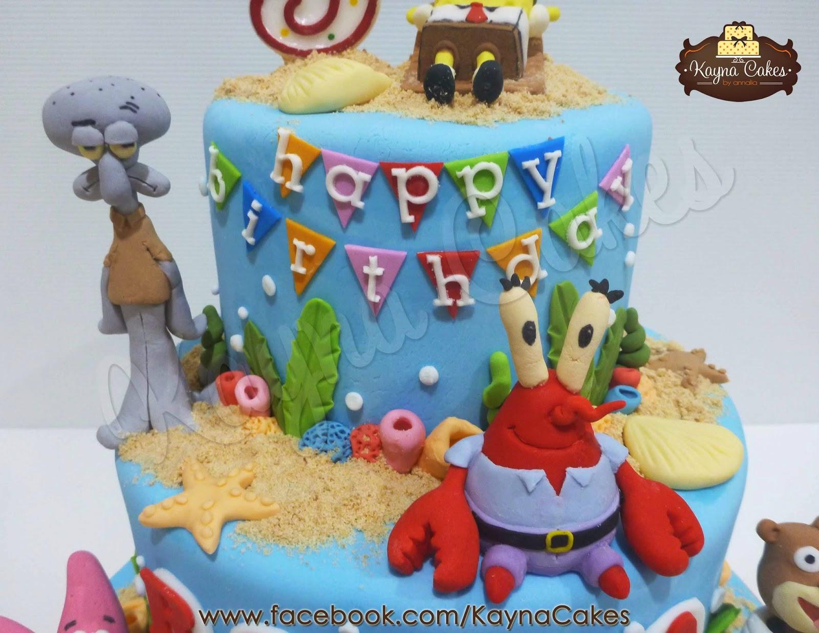 Spongebob Birthday Cake 3 Tier Spongebob Squidward And