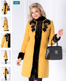 Palton femei de iarna galben mustar cu blanita si broderie elegant