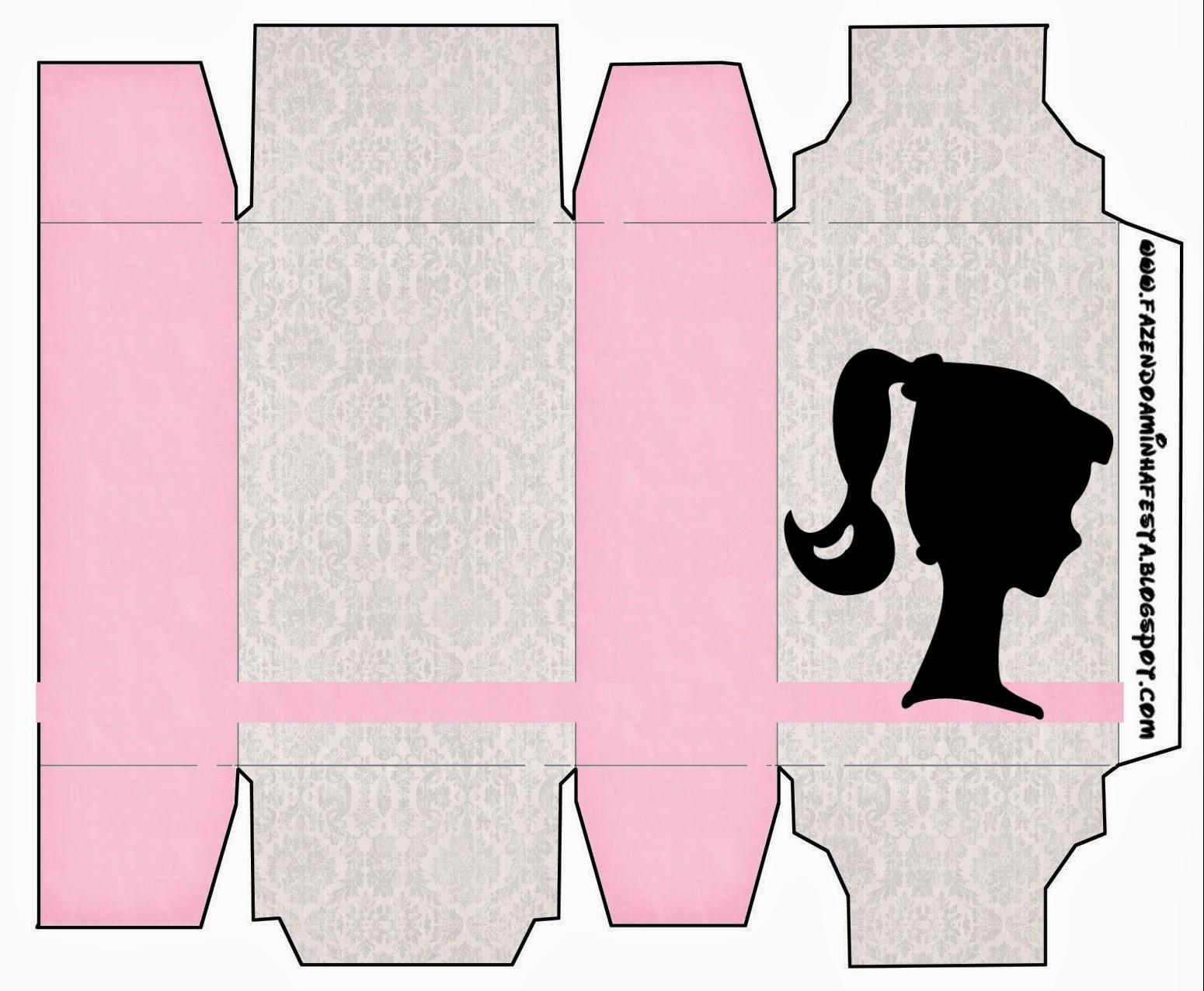 barbie silhouette  free printable boxes