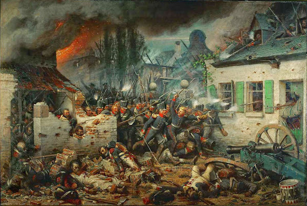 Prussian attack at Plancenoit, Adolph Northern, Macabre Art, Macabre Paintings, Horror Paintings, Freak Art, Freak Paintings, Horror Picture, Terror Pictures