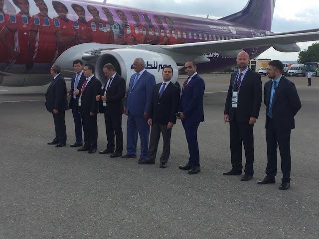 شاهد وصول المنتخب الوطني مصر مطار جروزنى بروسيا استعداداً للمونديال