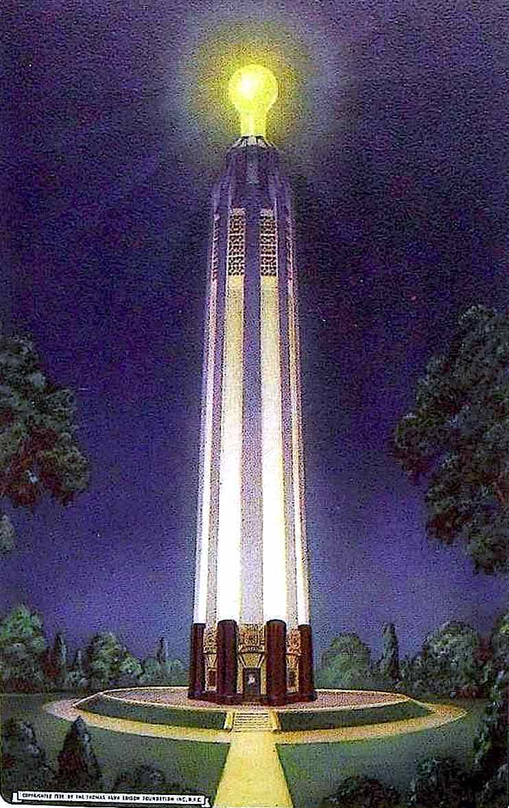 the 1938 Edison Monument, a color illustration