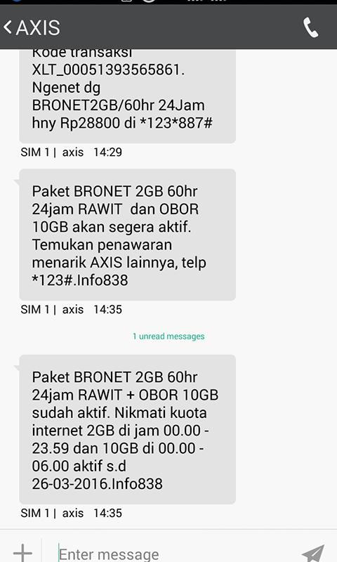 Cek Kuota Internet AXIS Hitz Lewat SMS