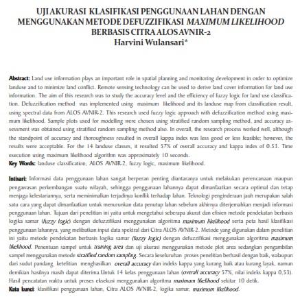 Uji Akurasi Klasifikasi Penggunaan Lahan Dengan Menggunakan Metode Defuzzifikasi