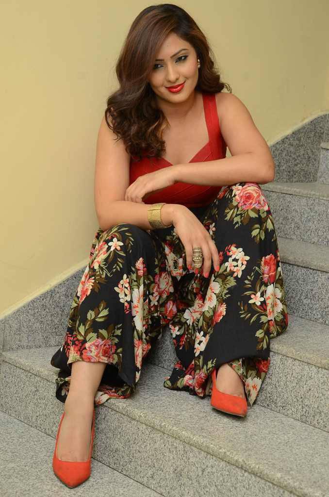 Kollywood Girl Nikesha Patel Long Hair Sizzling Photo shoot In Red Top