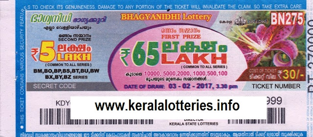 Kerala lottery result live of Bhagyanidhi (BN-72) on  15  February  2013