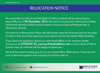 Bank of Africa moved to westlands in nairobi