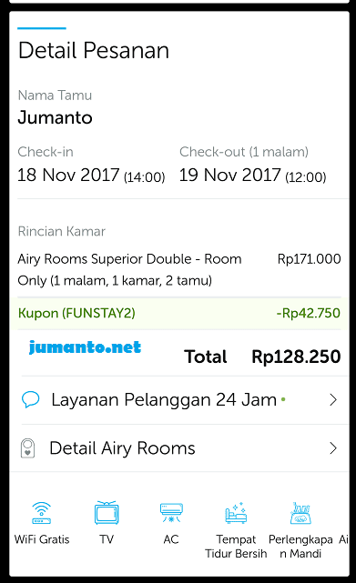 tarif penginapan airy rooms