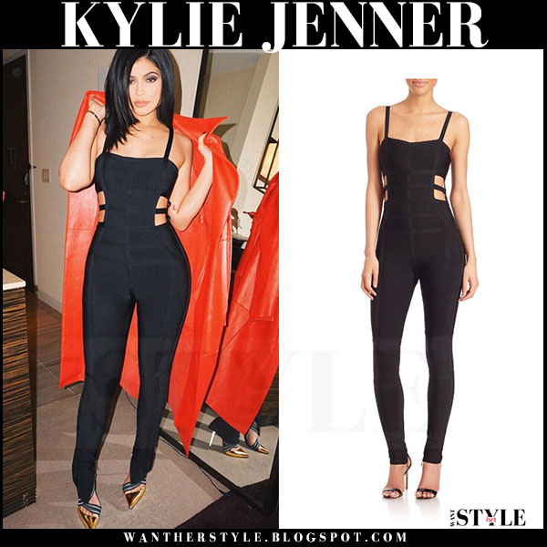 Kylie Jenner in black cutout jumpsuit herve leger what she wore night out outfit