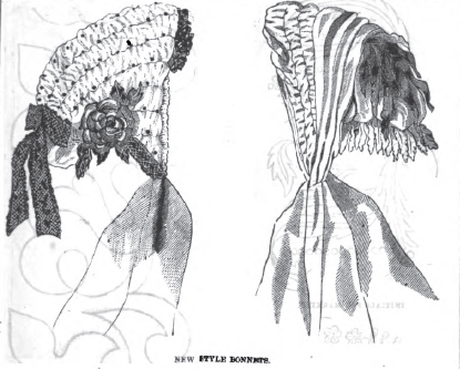 Bonnet designs in Peterson's Magazine, February 1865