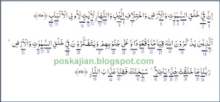 Hukum Tajwid Bacaan Al-Quran Surat Ali Imran Ayat 190-191 Lengkap Beserta Penjelasan dan Alasannya