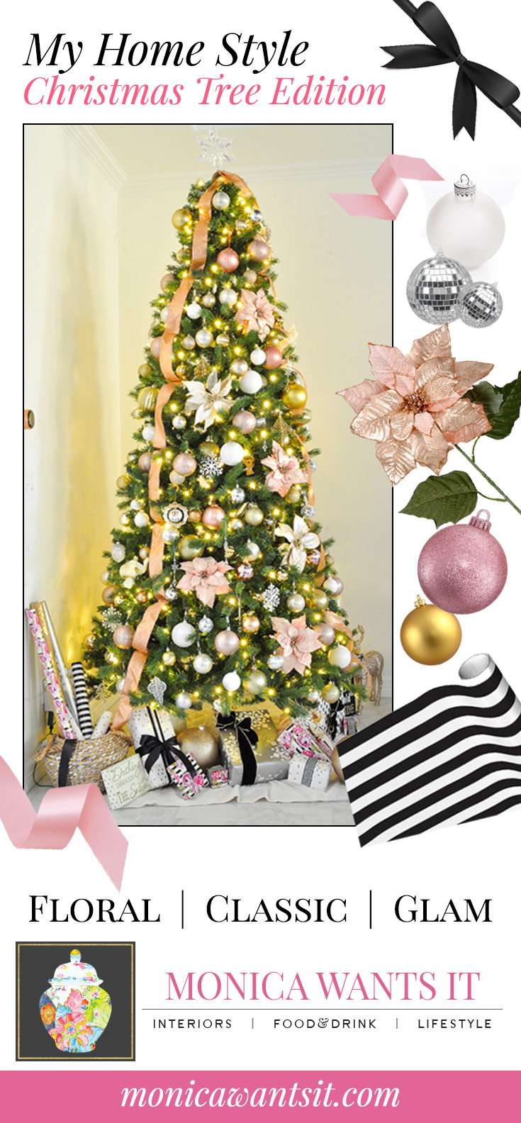 Blush pink, gold, silver and white holiday Christmas tree decor. | via monicawantsit.com