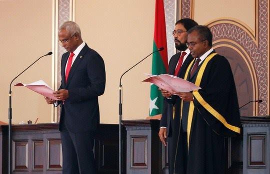 Tân Tổng thống Maldives Ibrahim Mohamed Solih tại lễ nhậm chức ngày 17-11